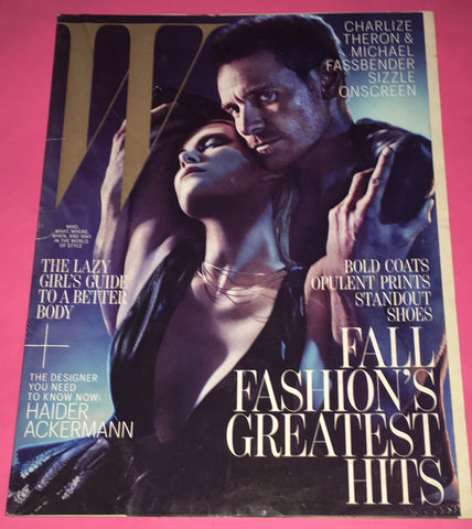 W magazine August 2012 MICHAEL FASSBENDER Charlize Theron FETISH Leather