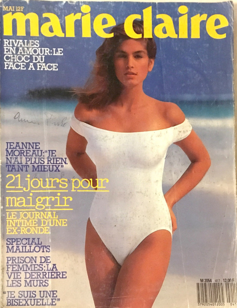 MARIE CLAIRE France Magazine May 1987 CINDY CRAWFORD Veronica Webb DEMARCHELIER