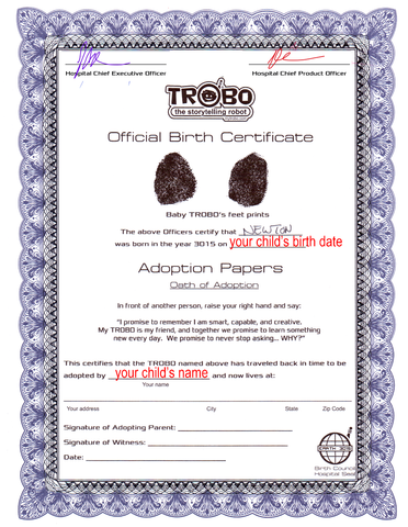 TROBO Birth and Adoption Certificate - Personalized - TROBO