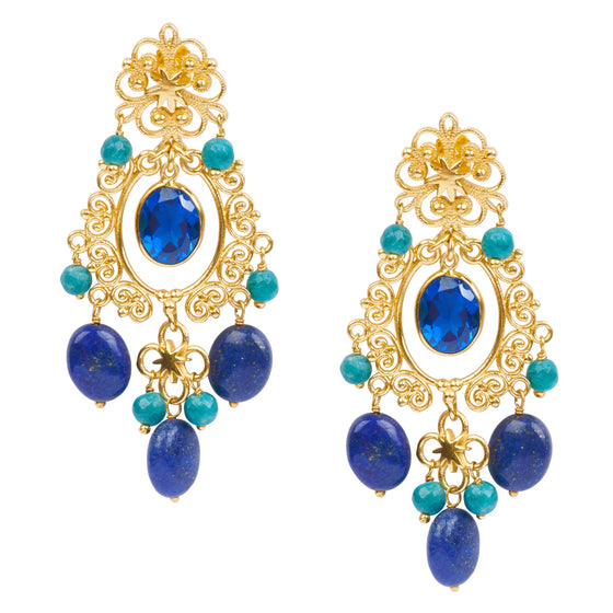 Wonder Woman HopeStar Chandelier Earrings in Lapis & Blue Quartz - USE CODE THEEND50 TO BUY FOR $55