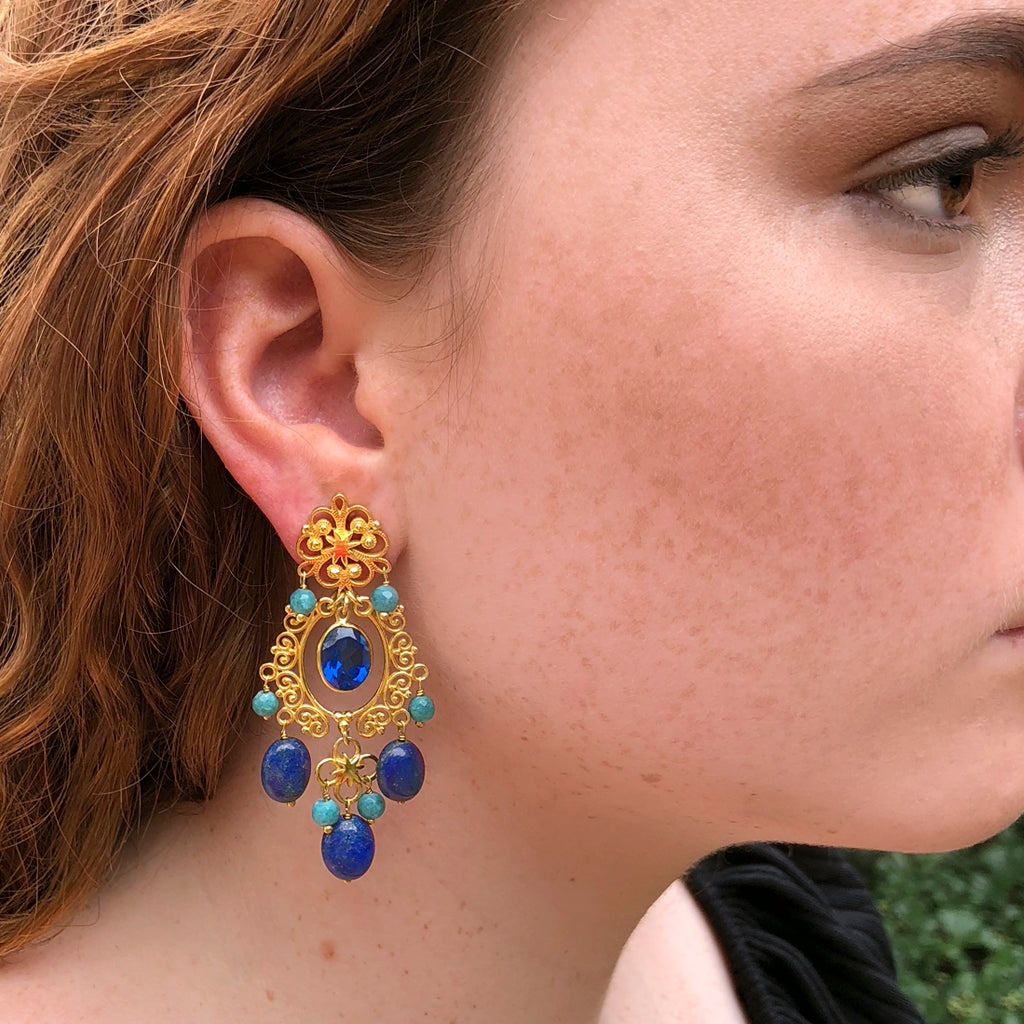 Wonder Woman HopeStar Chandelier Earrings in Lapis & Blue Quartz