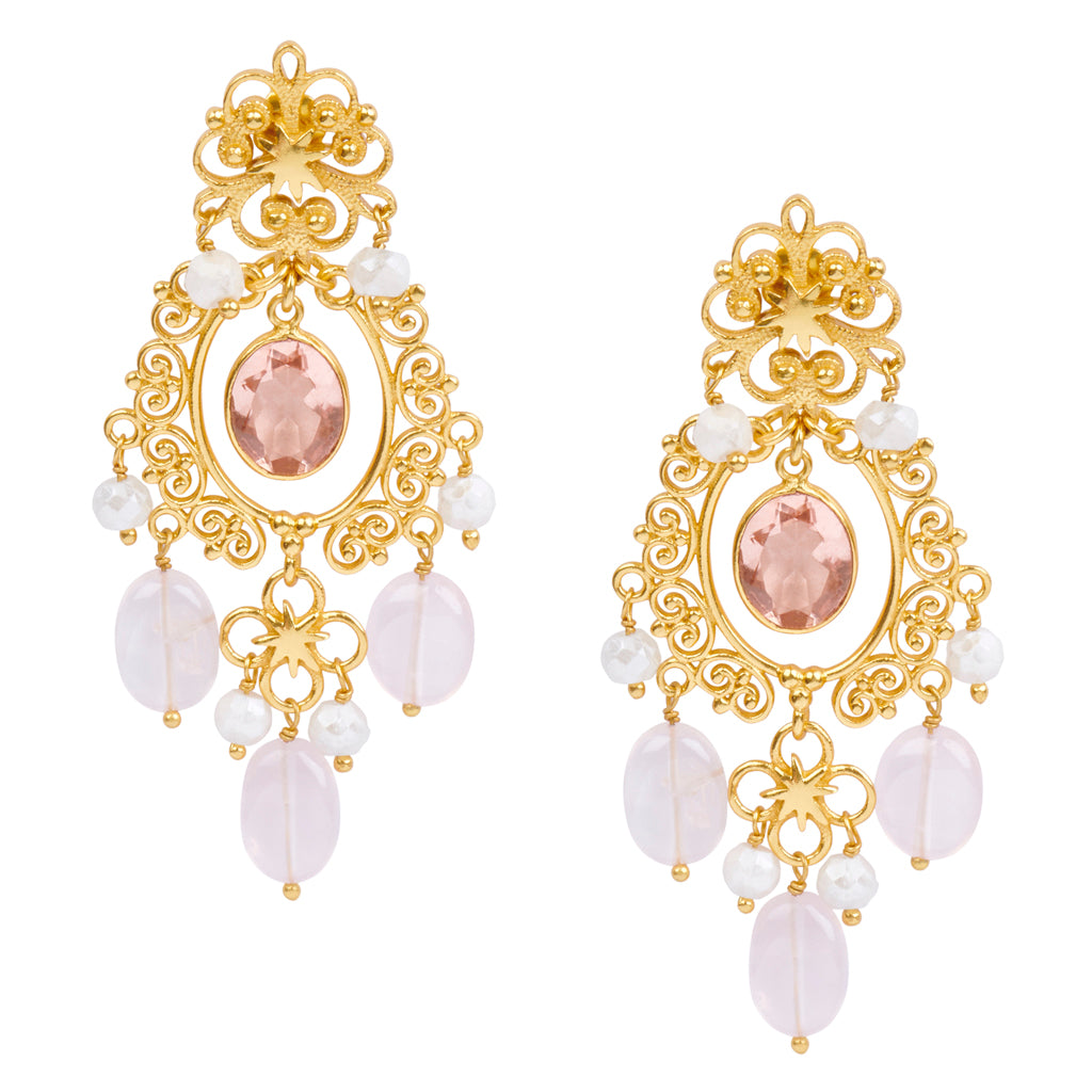 Wonder Woman HopeStar Chandelier Earrings in Moonstone & Rose Quartz - USE CODE THEEND50 TO BUY FOR $55