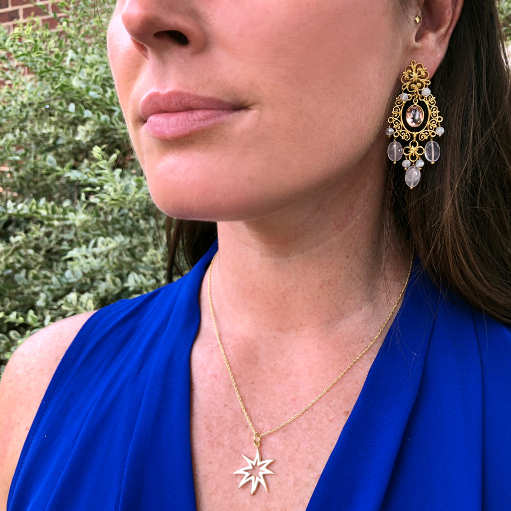 Wonder Woman HopeStar Chandelier Earrings in Moonstone & Rose Quartz