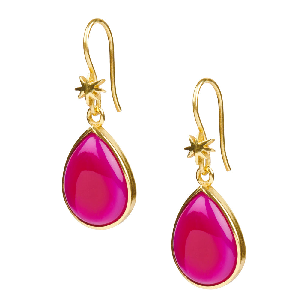 Teardrop Fuschia Chalcedony Earring on HopeStar Earwire