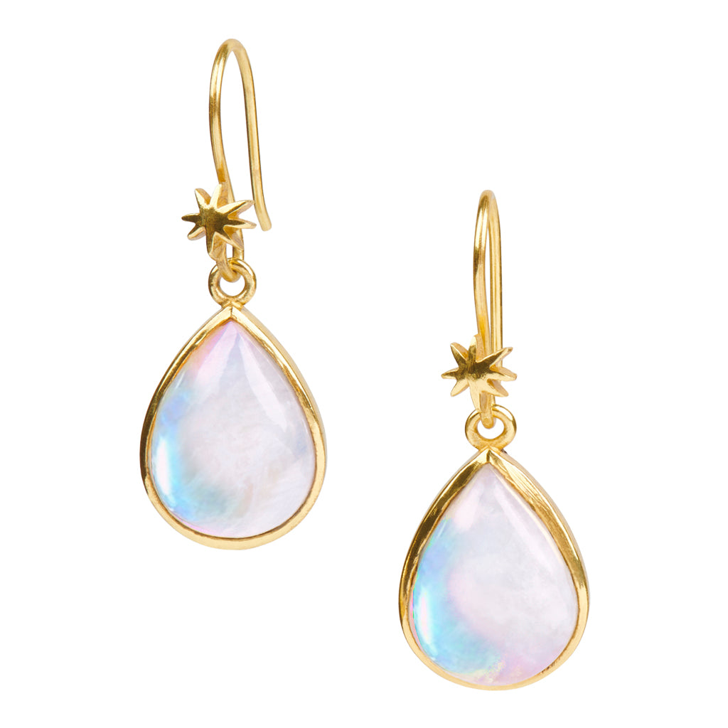 Teardrop Rainbow Moonstone Earring on HopeStar Earwire