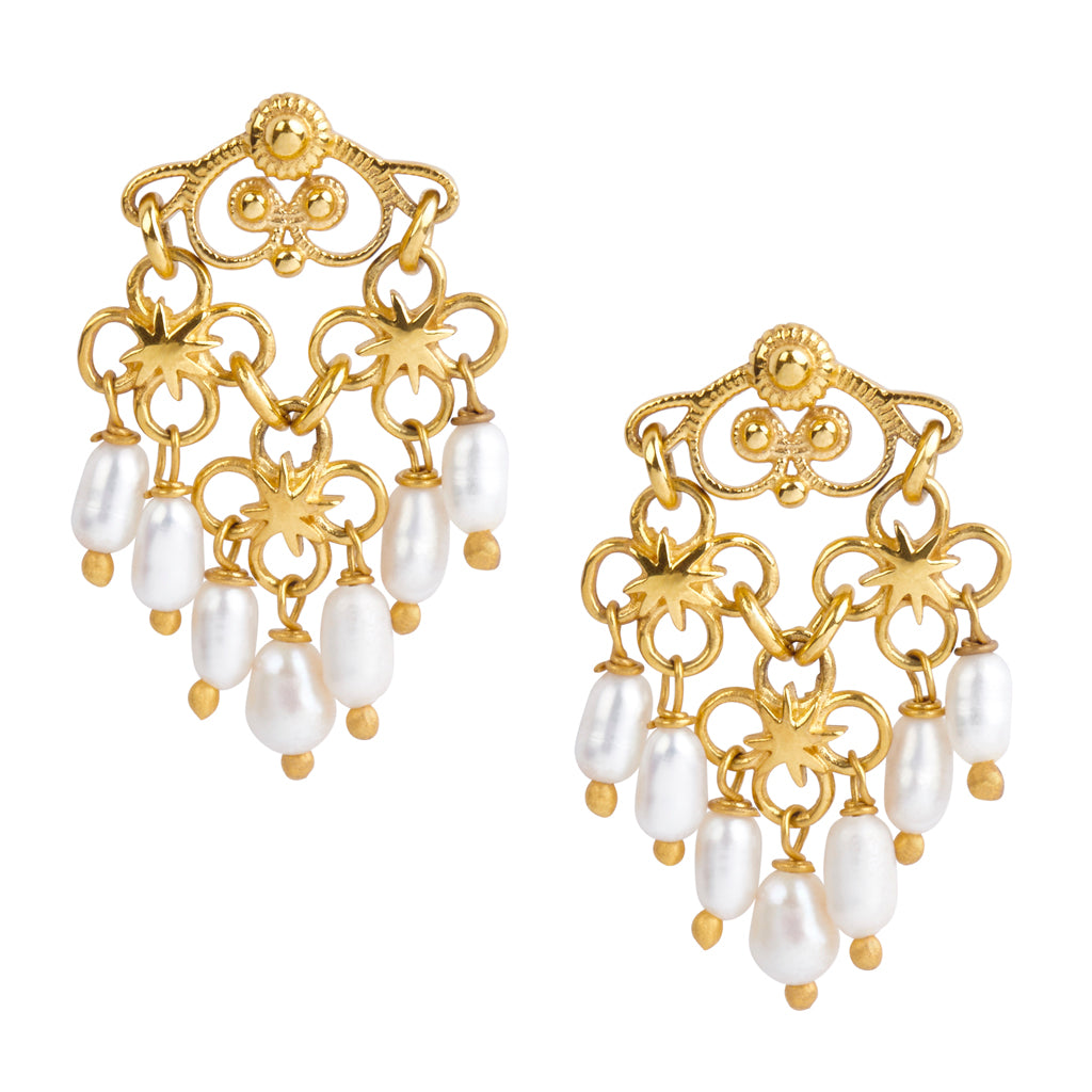 Say-a-Little-Prayer-for-You Mini-Chandelier Pearl HopeStar Earrings