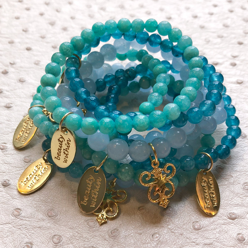 Beauty Within Dog Tag Stretch Bracelet in Amazonite in Gold