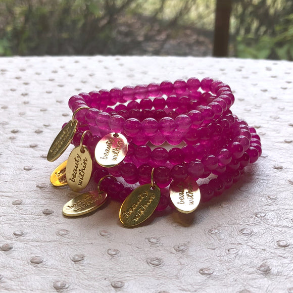 Beauty Within Dog Tag Stretch Bracelet in Fuschia Quartz in Gold