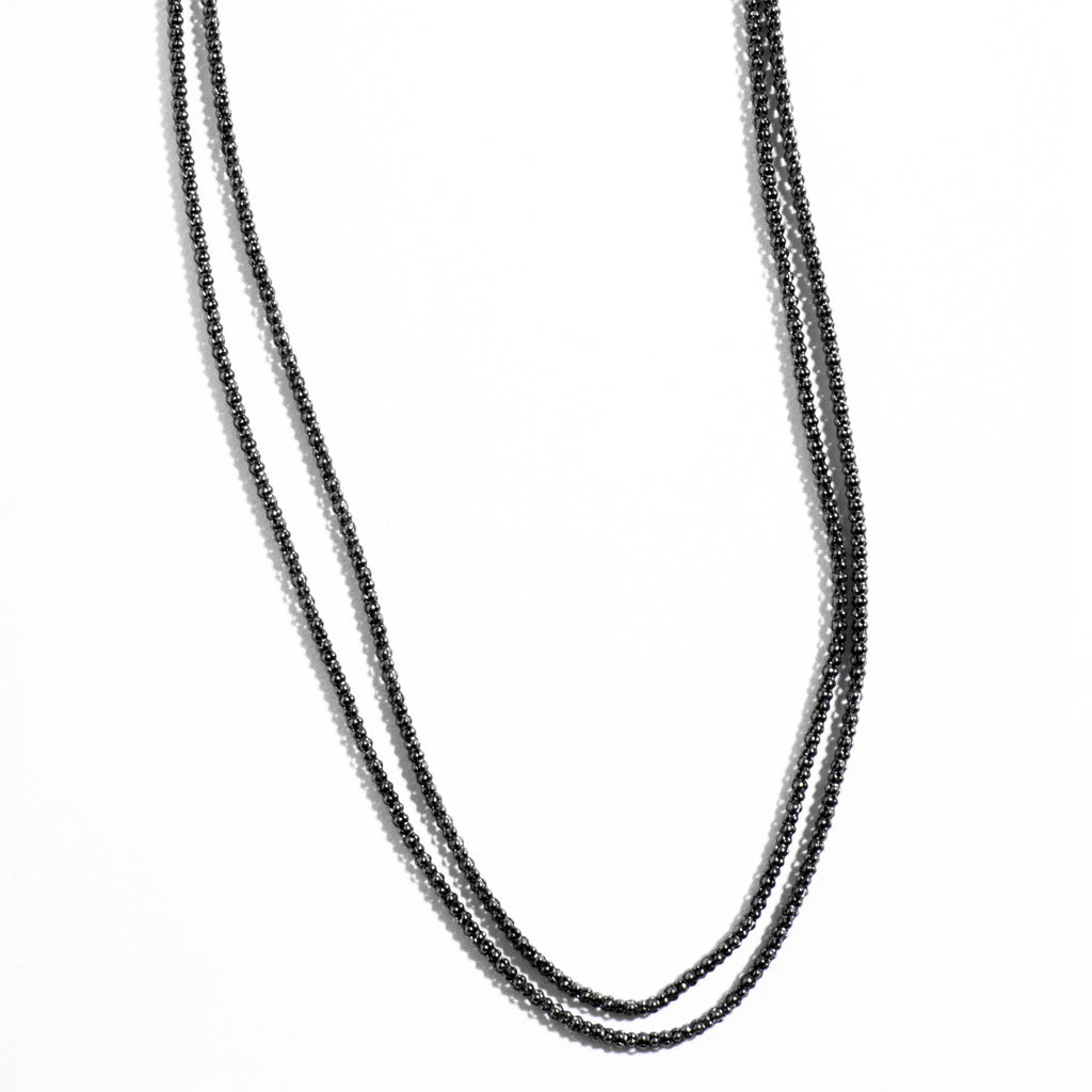 Italian Black Ruthenium Sterling Silver Double Chain
