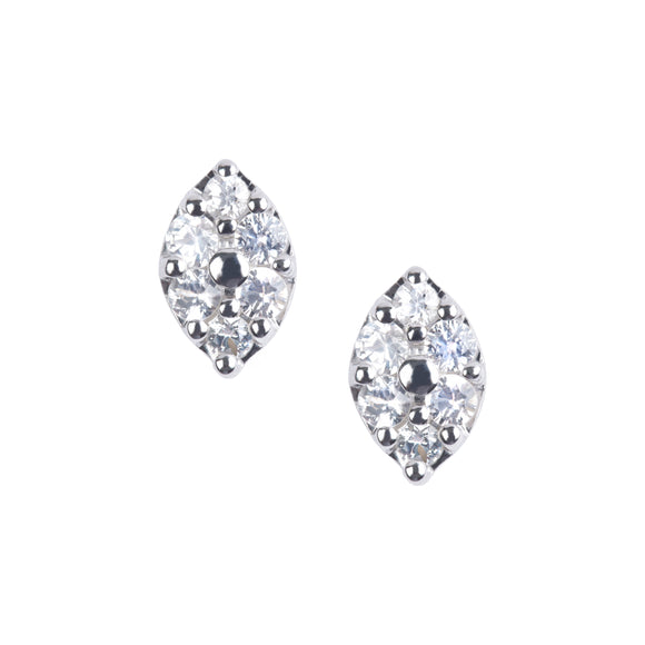 Diamond Shape White Sapphire Earrings in Silver - PRICE IS $122.50 WHEN USE CODE SUMMERFINAL50 FOR 50% OFF