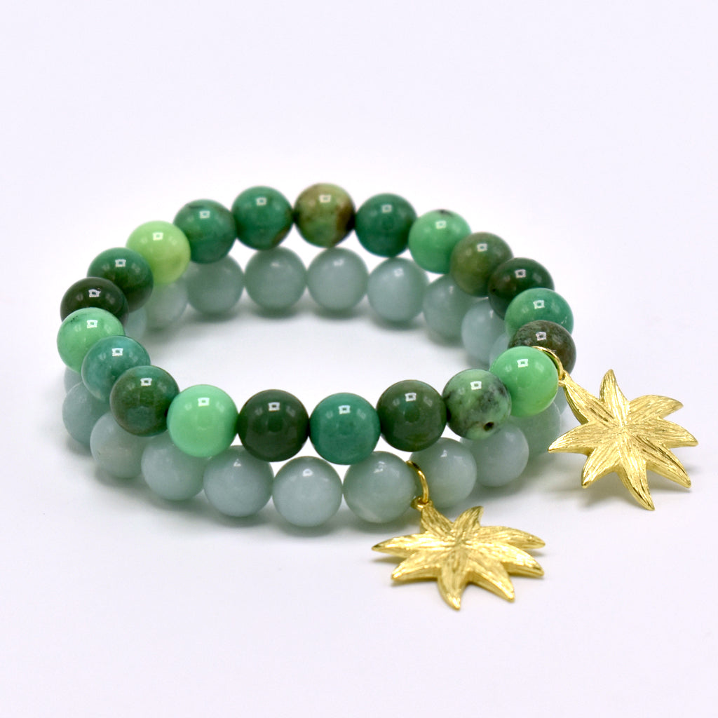 Hope Star Gemstone Bracelet in Green Grass Agate