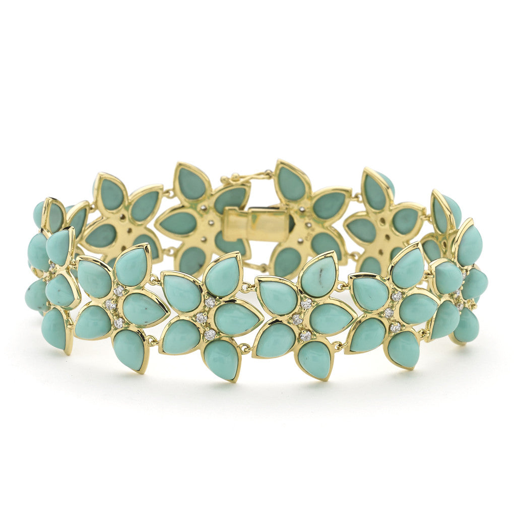 Mariposa Kaleidoscope Bracelet in Turquoise & Diamonds in 18kt Gold