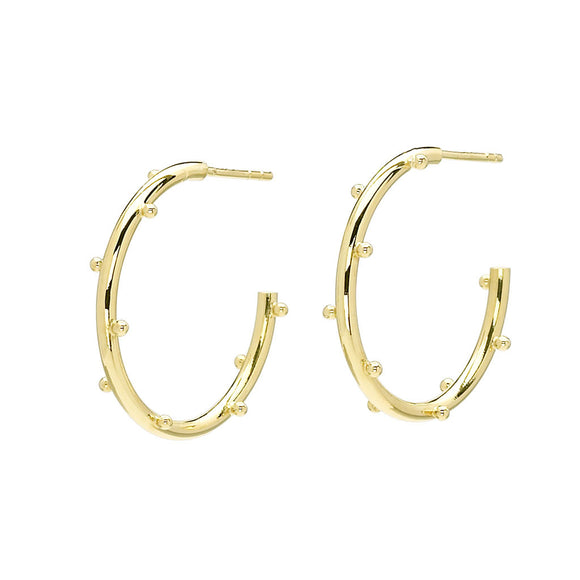 18kt Gold Small Classic Ball Hoop Earrings - Special Order