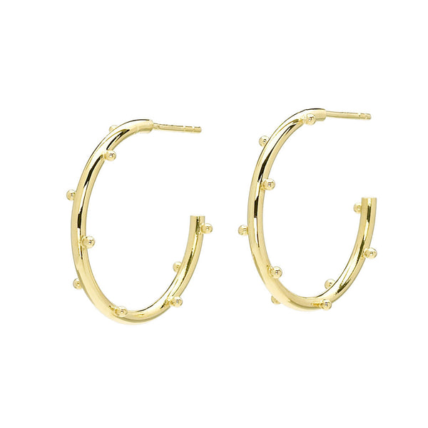 18kt Gold Small Classic Ball Hoop Earrings