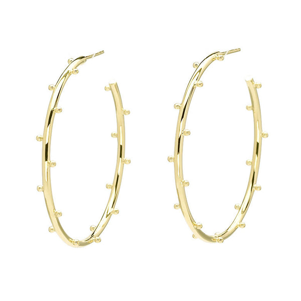 18kt Gold Classic Ball Hoop Earrings