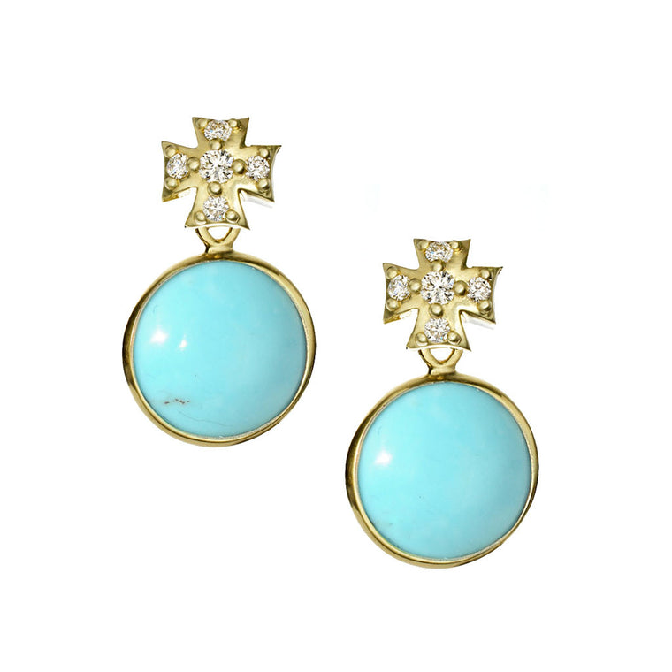 *SPECIAL ORDER* Maltese Drop Earrings in Arizona Kingman Mine Turquoise & Diamonds or White Sapphires set in 14kt or 18kt Gold - USE CODE SPECIALORDER50 and only pay a 50% deposit of $375 for 14kt with white sapphire version