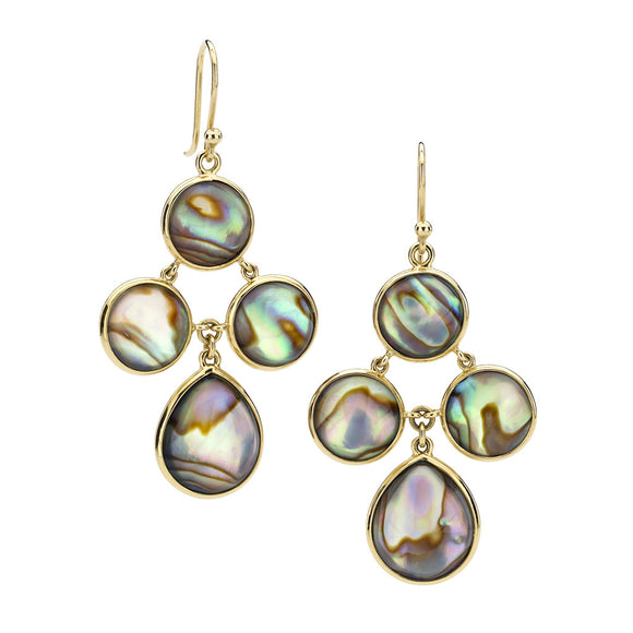 18kt Gold Audrey Chandelier Earrings in White Quartz over Abalone - Special Order