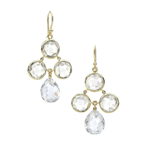 Audrey Chandelier Earrings in White Quartz - 18kt Gold - Special Order