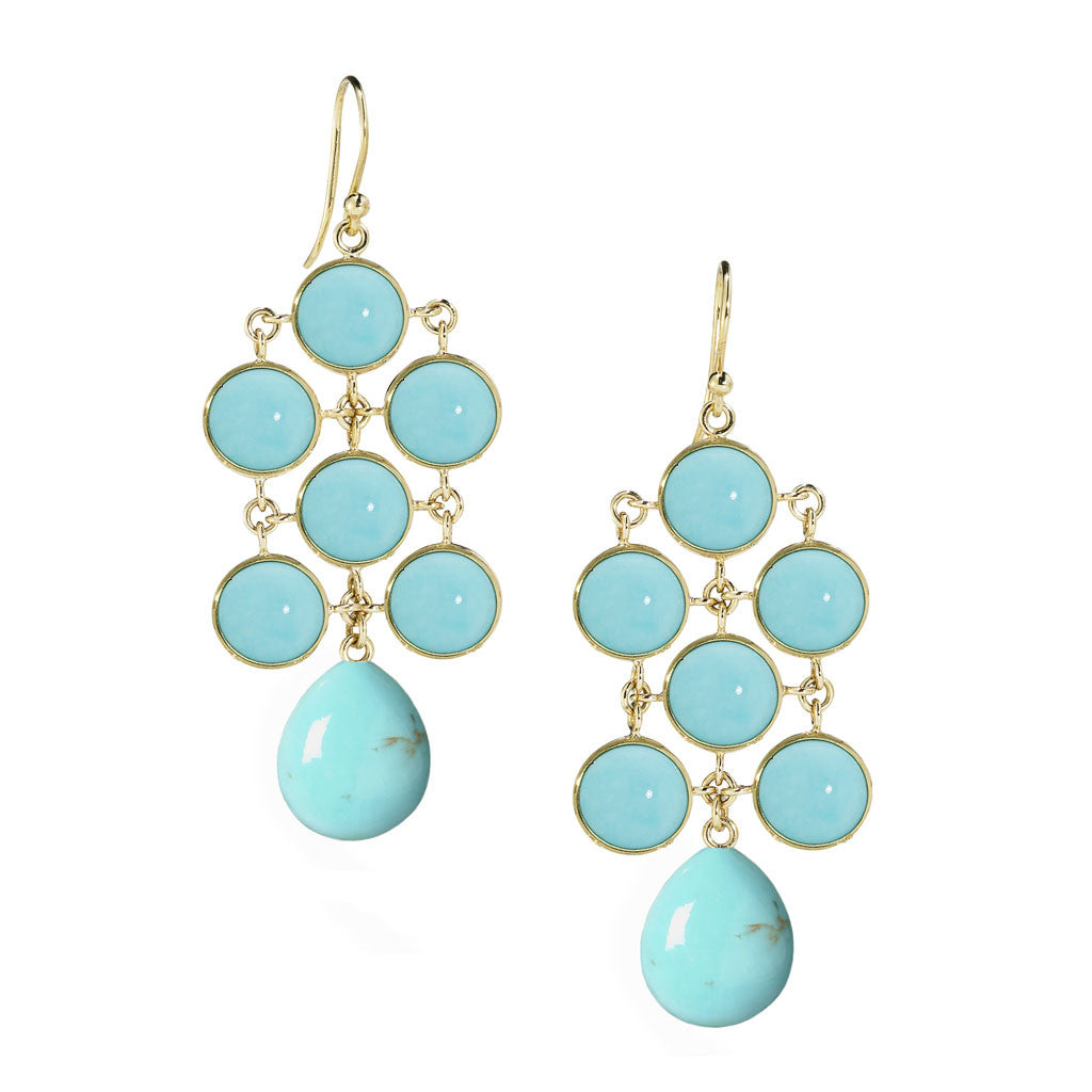 *SPECIAL ORDER* Juliette Chandelier Earrings in Kingman Mine Turquoise in 14kt- or 18kt-Gold - USE CODE SPECIALORDER50 and only pay a 50% deposit of $797.50 for the 14kt version