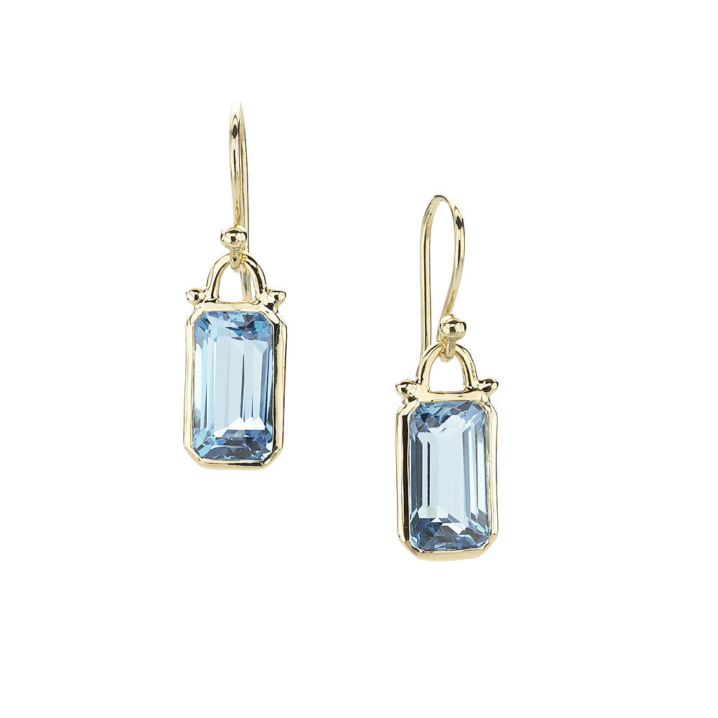 Emerald Cut Blue Topaz Small Deco Earrings in 18kt Gold - PRICE IS $399 WHEN YOU USE CODE HOORAY50 FOR AN EXTRA 50% OFF