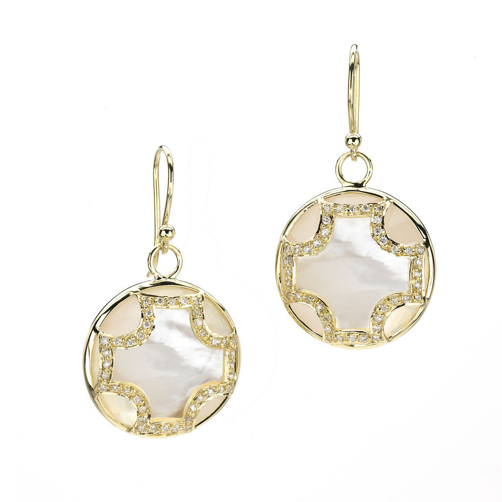 Maltese Earrings in Mother of Pearl & Diamonds in 18kt Gold