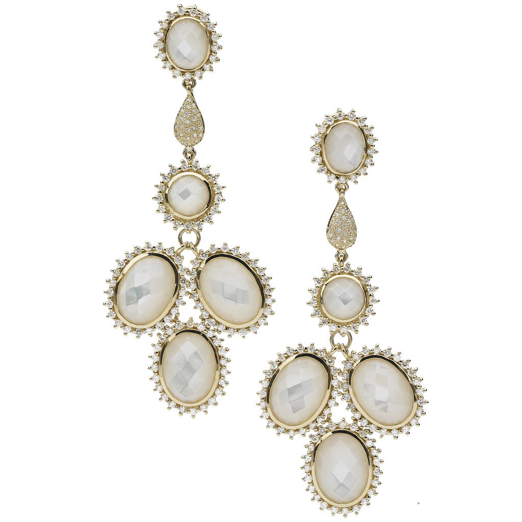 Marilyn Chandelier Earrings in Mother of Pearl and 3.5 Carats of Diamonds in 18kt Gold - Special Order