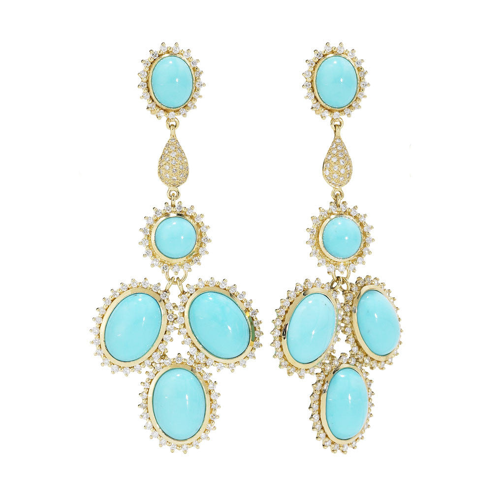 18kt Gold Marilyn Chandelier Earrings in Turquoise & 3.5 Carats of Diamonds - Special Order