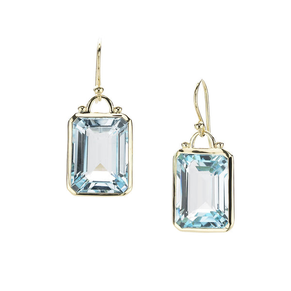 18kt Gold Deco Earrings in Blue Topaz