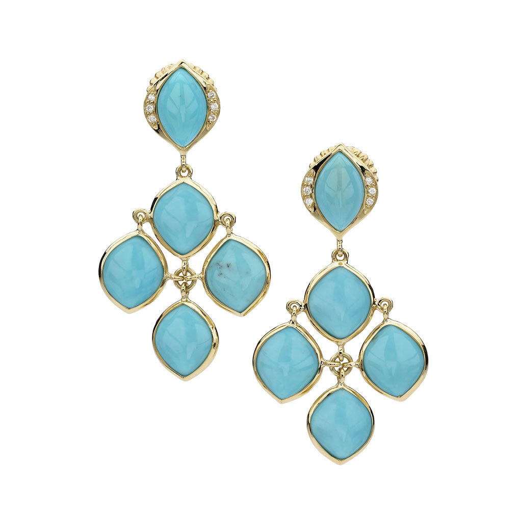 18kt Gold Simone Chandelier Earrings in Turquoise - Newly Back in Stock