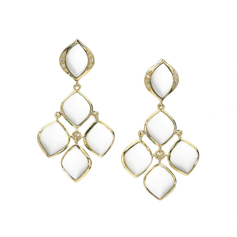 Simone Chandelier Earrings in White Agate and Diamonds in 18kt Gold - Special Order