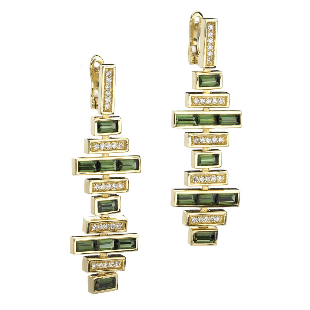 Deco Traintrack Earrings in Green Tourmaline & Diamonds in 18kt Gold - Special Order