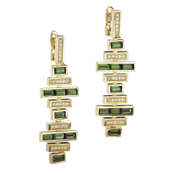 Deco Traintrack Earrings in Green Tourmaline & Diamonds in 18kt Gold