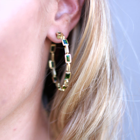 Turquoise Enamel Deco Chain Link Earrings - USE CODE HOORAY50 FOR AN EXTRA 50% OFF