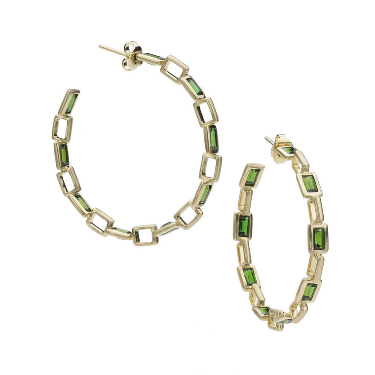 Deco Chain Link Earrings in Chrome Diopside in 18kt Gold - Special Order