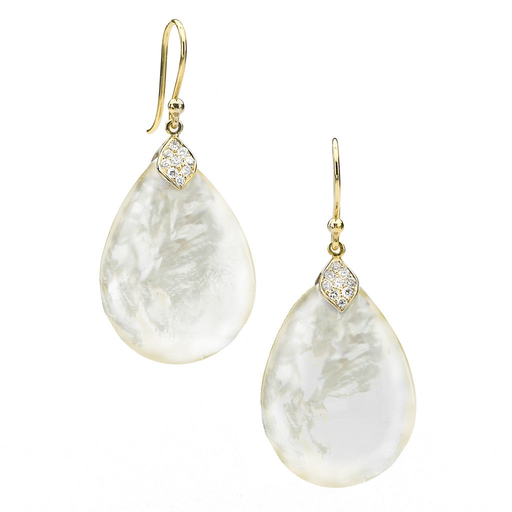 *SPECIAL ORDER* Eliza Teardrop Earrings in Mother of Pearl in choice of 14kt or 18kt Gold - USE CODE SPECIALORDER50 and only pay a 50% deposit of $575 for the 14kt version
