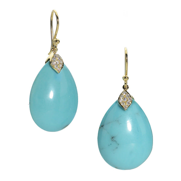 Gold Eliza Teardrop Earrings in Turquoise - USE CODE HOORAY50 FOR AN EXTRA 50% OFF