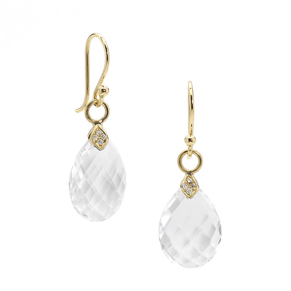 Gold Eliza Droplet Earrings in White Quartz - PRICE IS $264 WITH CODE JULYJEWELS50