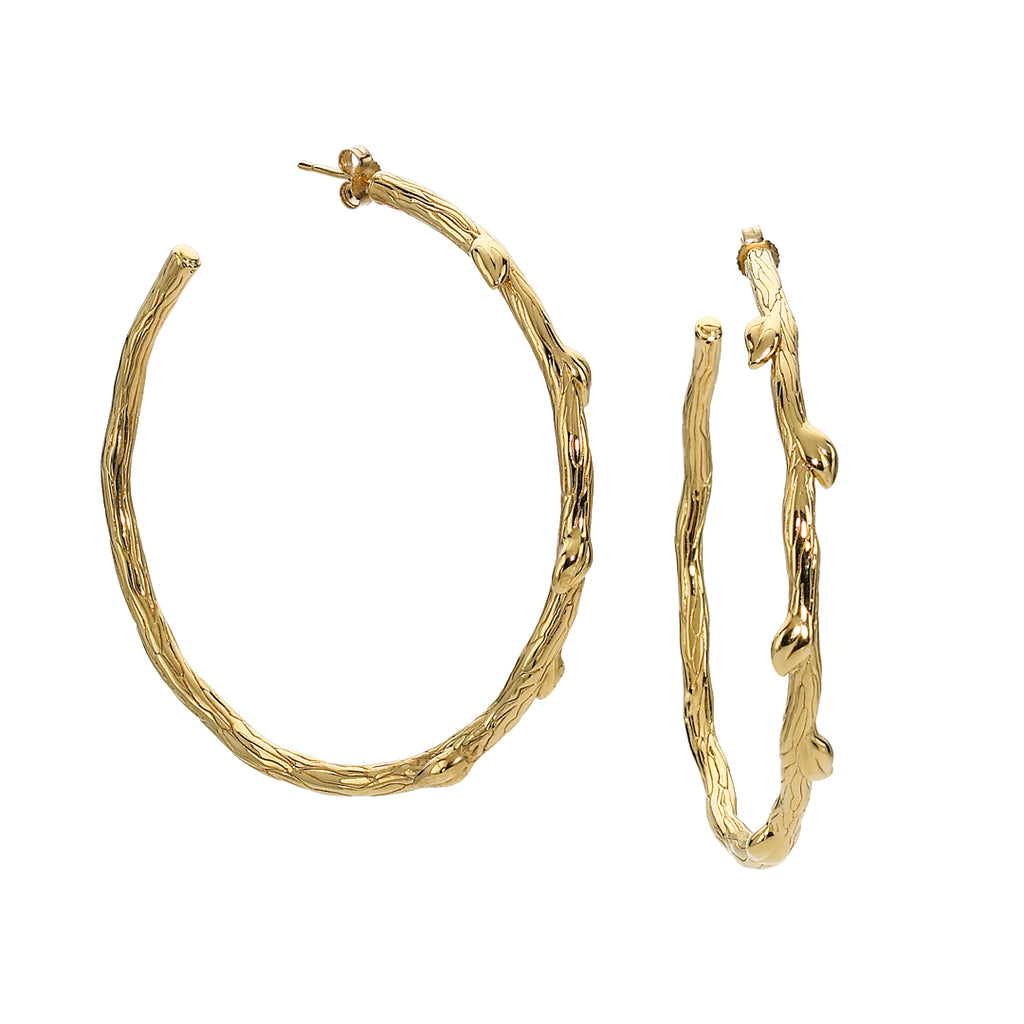 Our Popular Petal & Vine Hoops in 18kt Gold