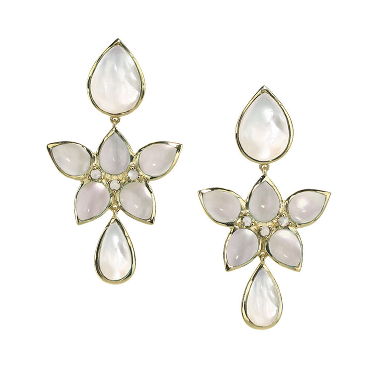 *SPECIAL ORDER* Mariposa Chandelier Earrings in Mother of Pearl in 14kt- or 18kt-Gold - USE CODE SPECIALORDER50 and only pay a 50% deposit of $825 for 14kt gold version