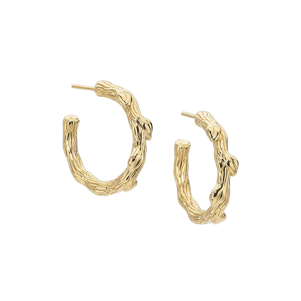 Small Petal and Vine Hoops -18kt Gold - SALE