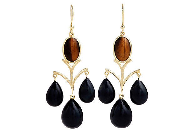 Vintage Elizabeth Showers Chandelier Earrings in Tiger Eye - 18kt Gold - USE CODE HOORAY50 FOR AN EXTRA 50% OFF
