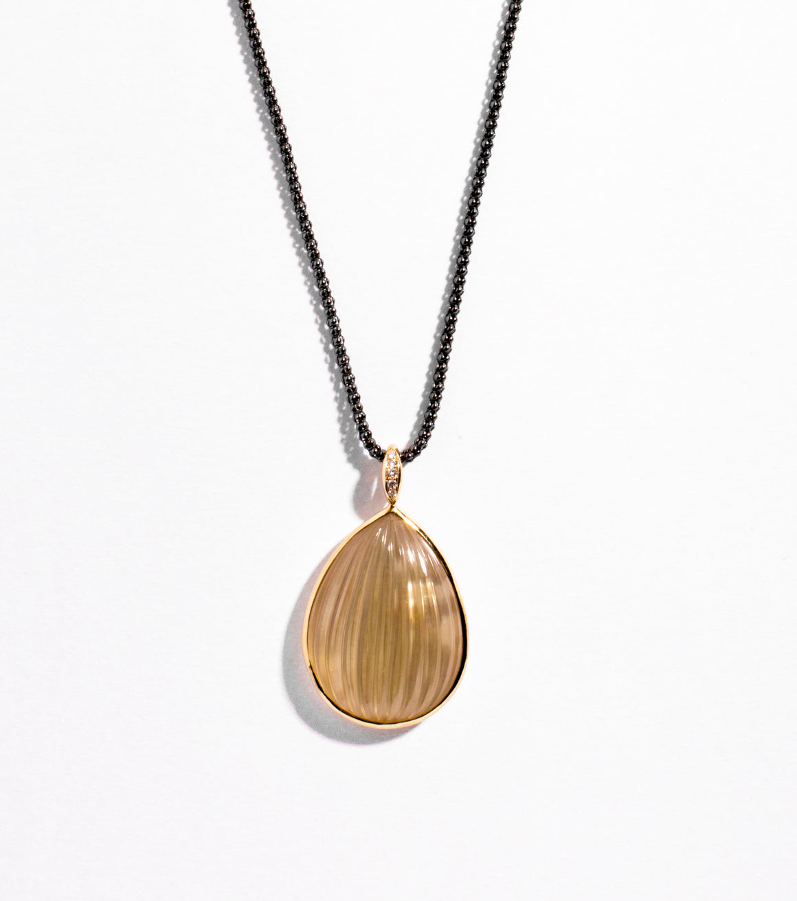 Soleil Necklace in Lemon Quartz over Mother of Pearl in 18kt Yellow Gold