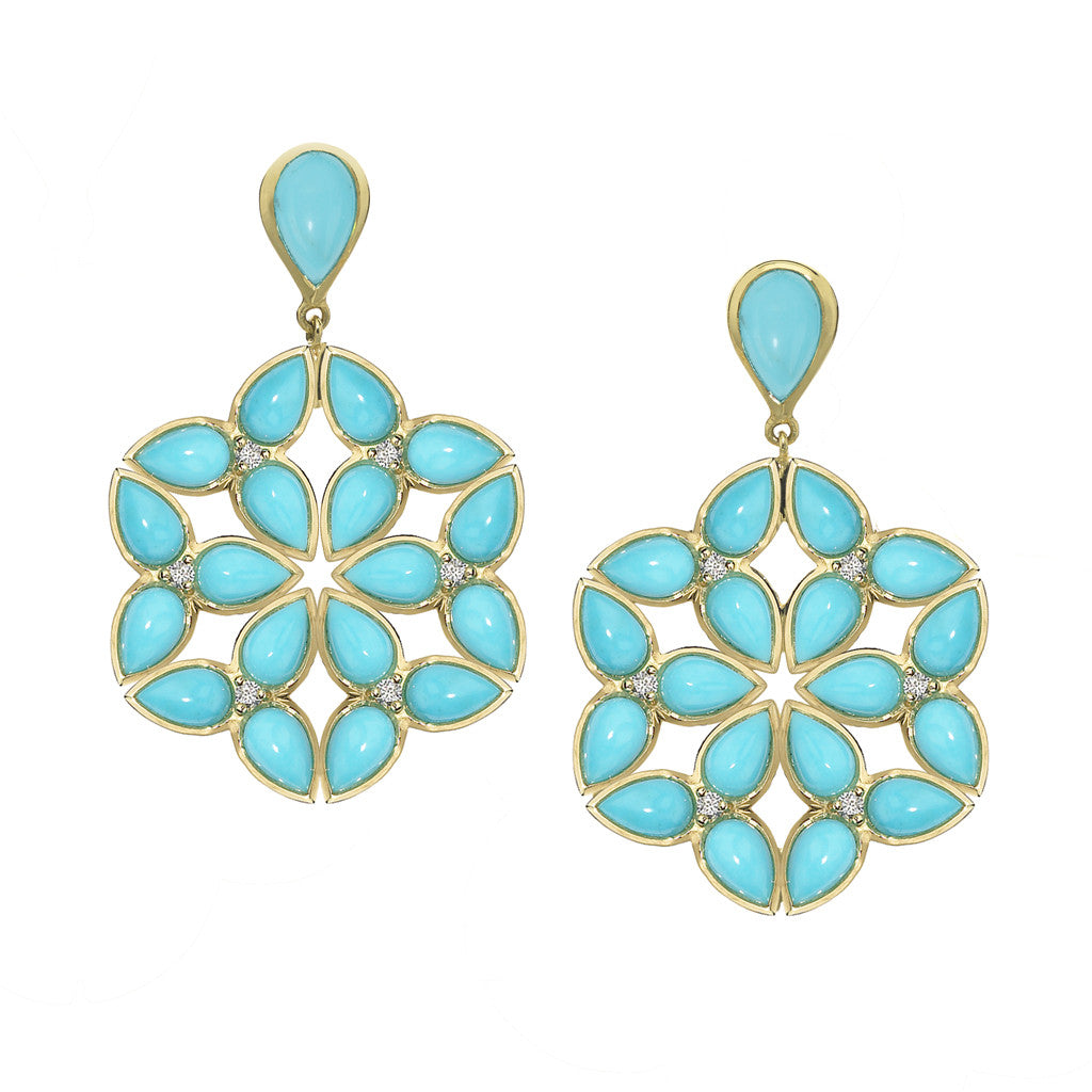 *SPECIAL ORDER* Mariposa Kaleidoscope Earrings in Arizona Kingman Mine Turquoise in 18kt Gold - USE CODE SPECIALORDER50 and only pay a 50% deposit of $2175