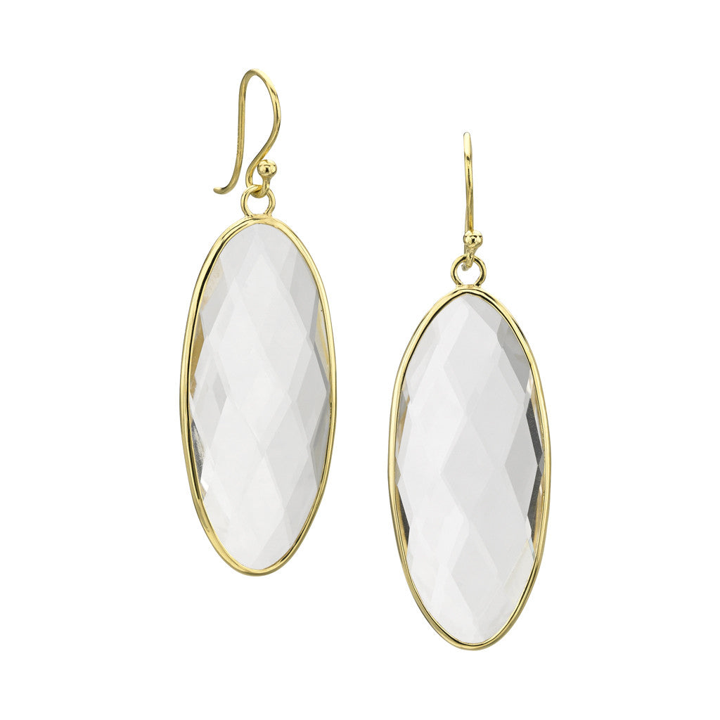 Shortboard Earrings in White Quartz- 18kt Gold - SALE