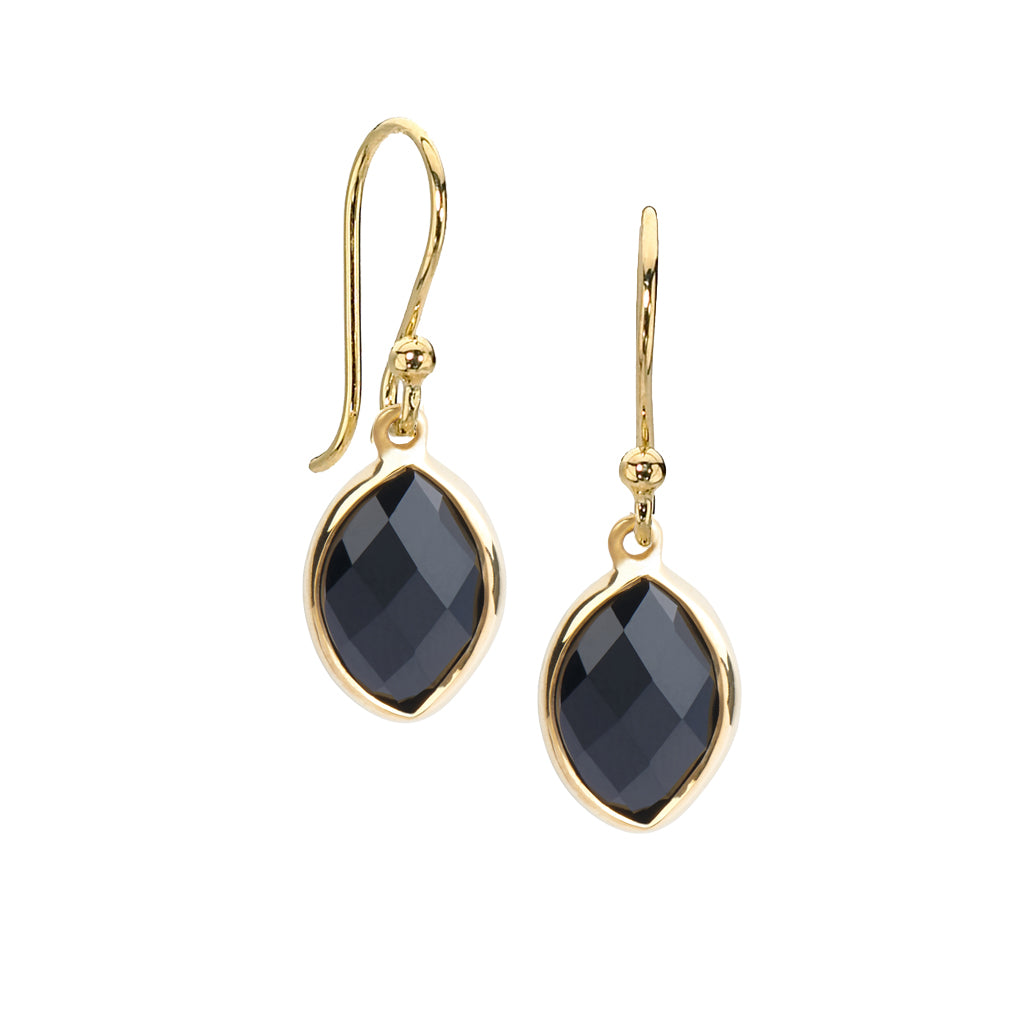 Marquis Black Onyx Drop Earrings in 14kt Gold over Silver