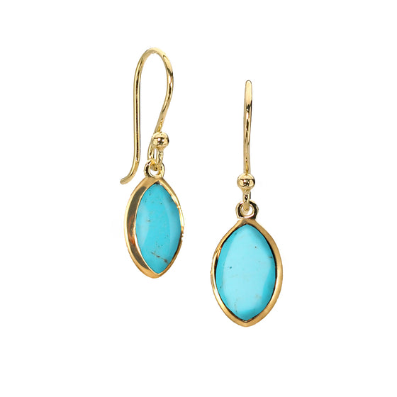 Marquis Drop Earrings in Turquoise in 14kt Gold over Silver