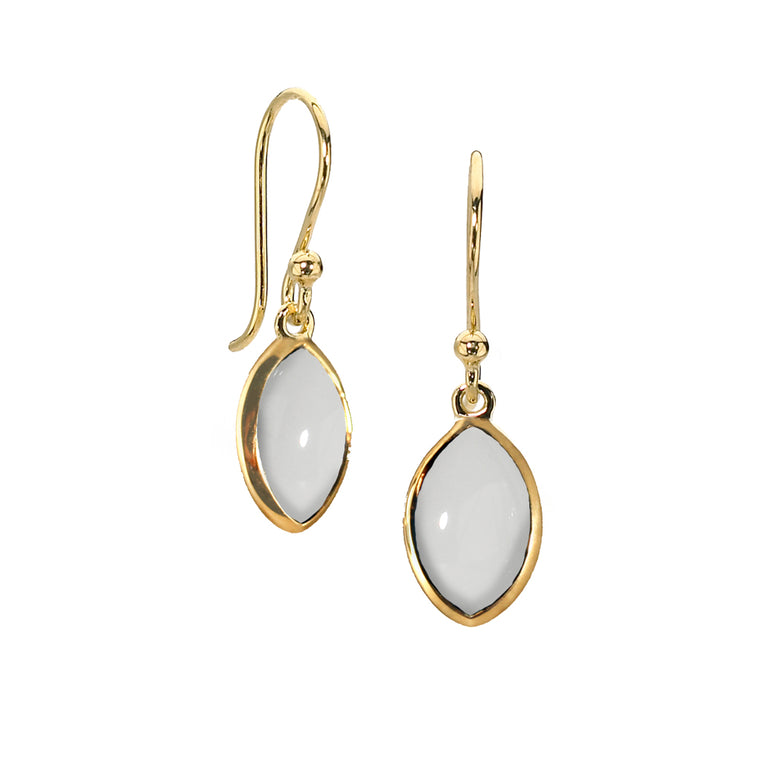 Marquis Drop Earrings in White Agate- 14kt over Silver