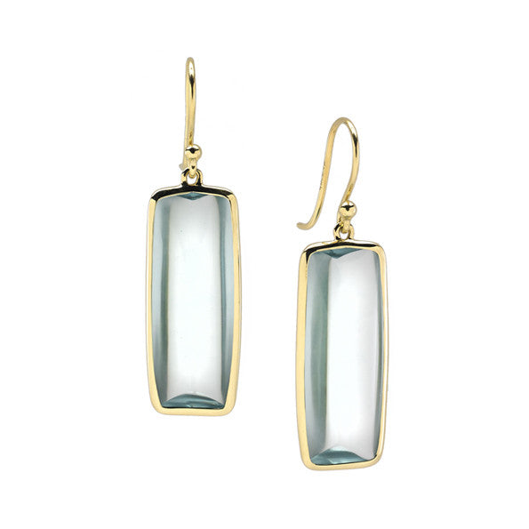 Beveled Deco Earrings in Teal Aquamarine Hydroquartz in 18kt Gold