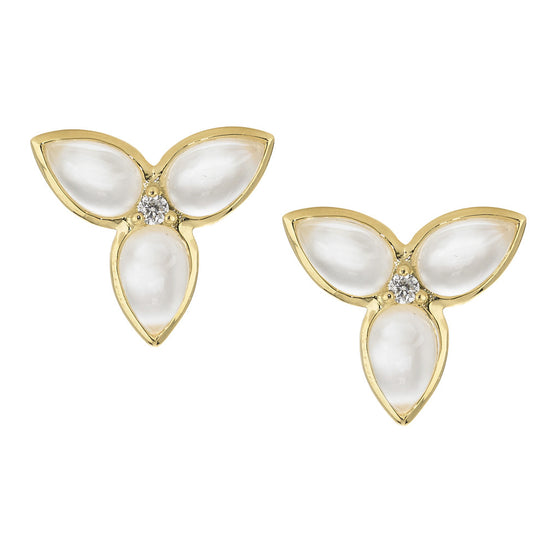 Mini Mariposa Post Earrings in Mother of Pearl in 18kt Gold - Special Order