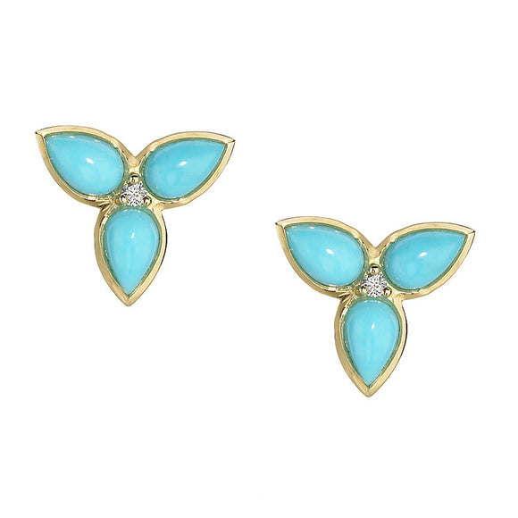 *SPECIAL ORDER* Mariposa Post Earrings in Turquoise & Diamonds in 14kt or 18kt Gold - USE CODE SPECIALORDER50 and only pay a 50% deposit of $425 for the 14kt version